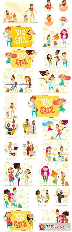 Happy Cartoon Characters - 20 Vector