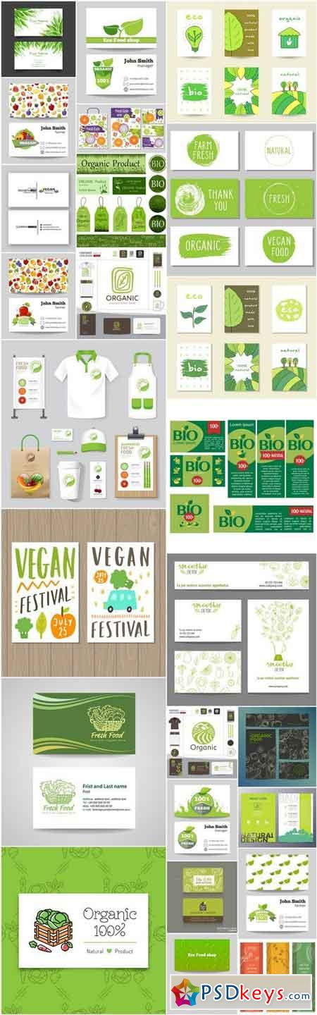 Bio Organic Card Template - 25 Vector