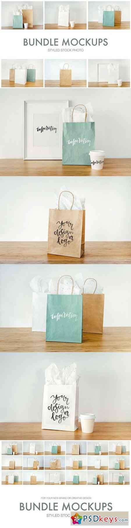 Mockups bags, cups and frames 1674545