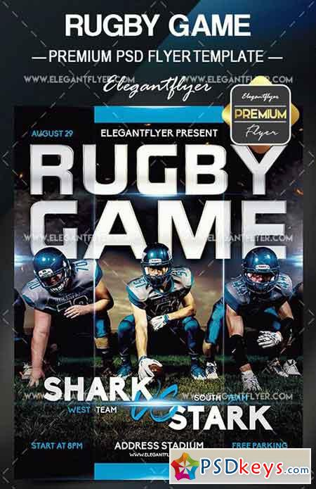 Rugby Game – Flyer PSD Template + Facebook Cover