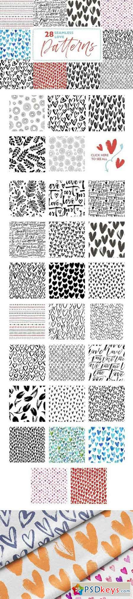 28 seamless love patterns. 1668115