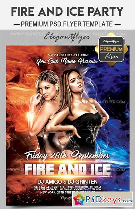 Fire and Ice Party – Flyer PSD Template + Facebook Cover