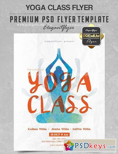 Yoga Class – Flyer PSD Template + Facebook Cover