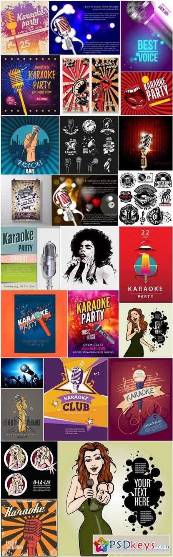 Karaoke Party Flyer Template - 25 Vector