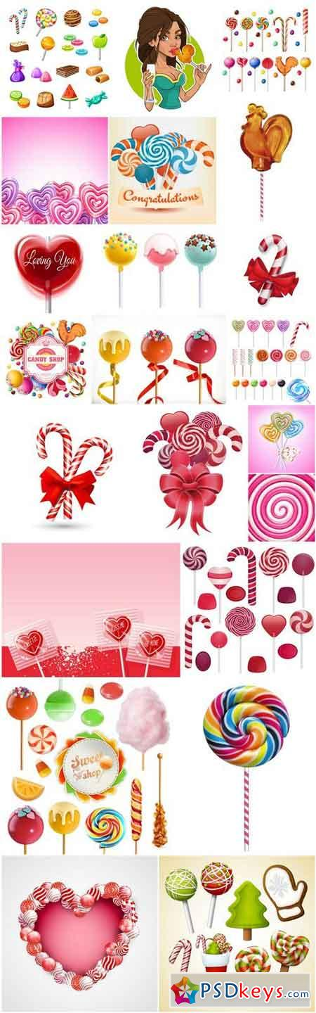 Colorful Lollipop Candy - 22 Vector