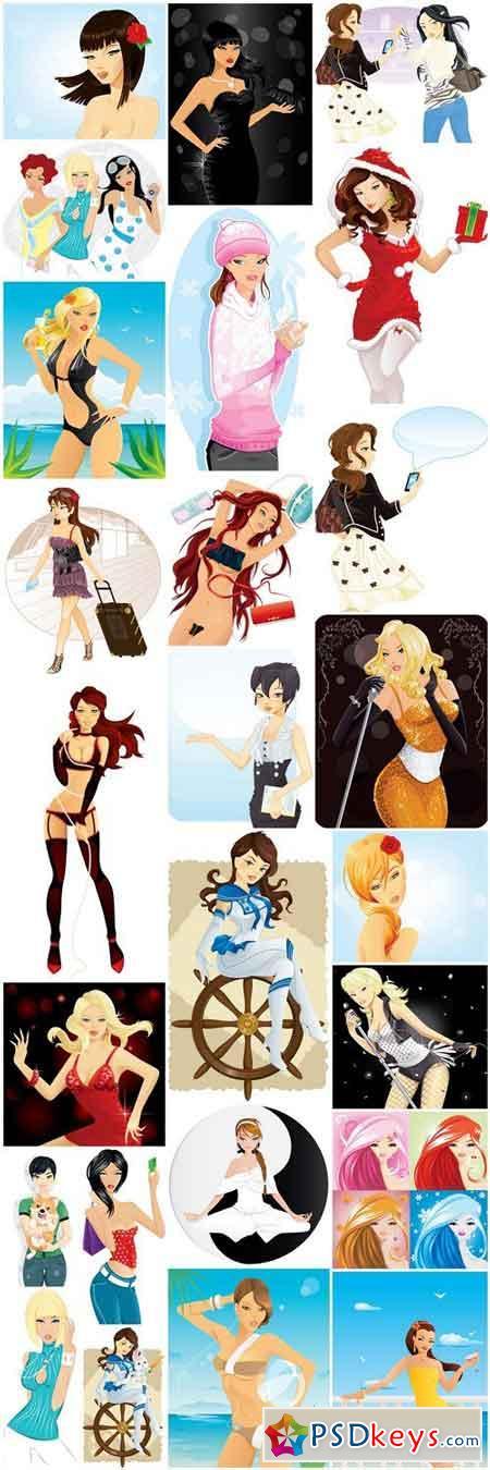 Girl Collection #20 - 25 Vector
