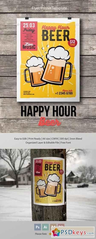 Happy Hour Beer Flyer-Poster Template 15994510