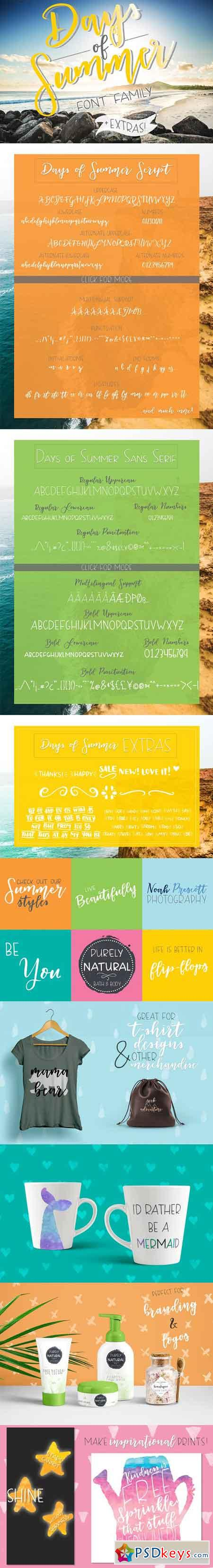 Days of Summer Font Family + Extras 1721654
