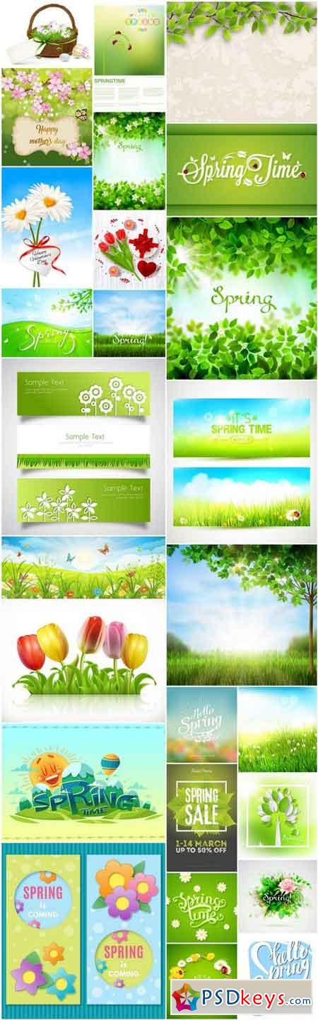 Spring Flowers Background - 26 Vector