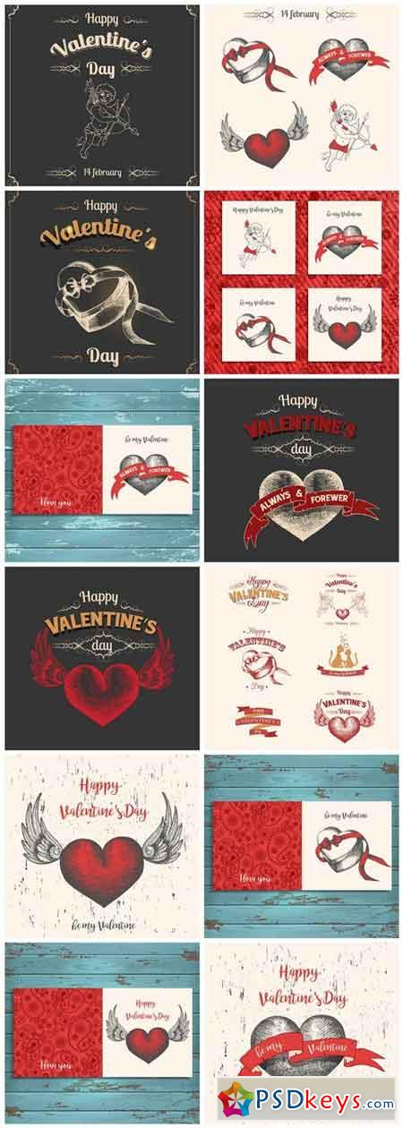 Valentine Vintage Background - 12 Vector