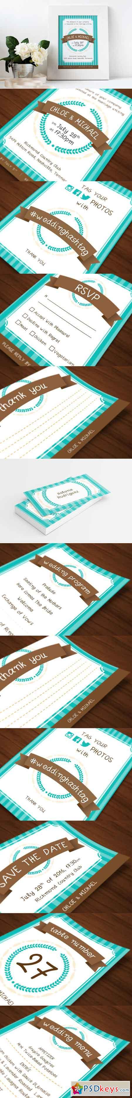Wedding Invitations Set - Turquoise 1632966