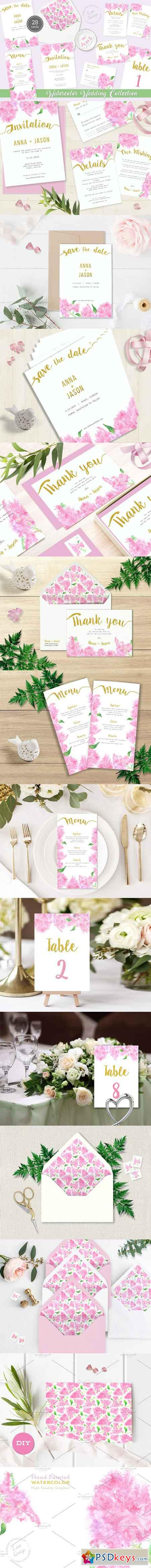 Pink Lilac Watercolor Wedding Suite 1756414