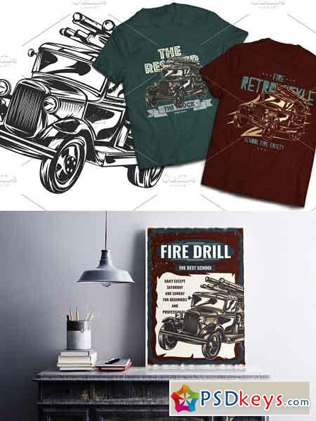 Firetruck T-shirts And Poster Labels 1756044
