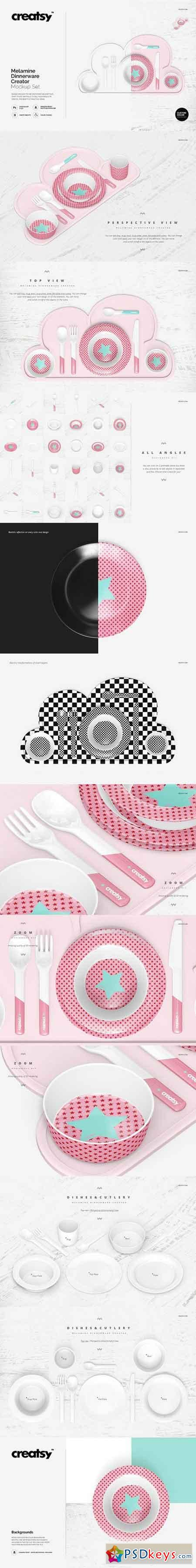 Melamine Dinnerware Creator Mockup 1711601