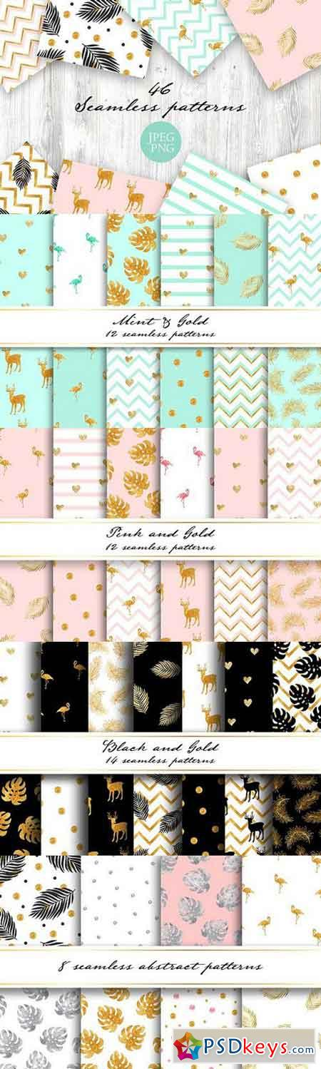 Gold collection. Seamless patterns 1635390