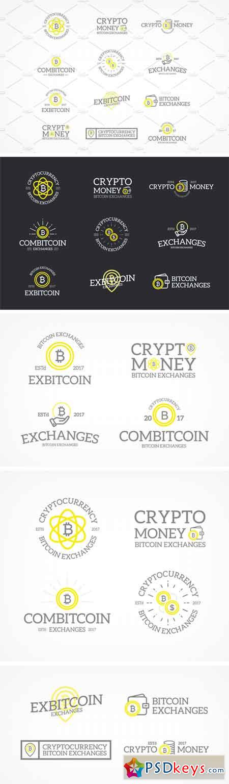 Set of Retro Vintage Bitcoin and Cryptocurrency Logos 1740135