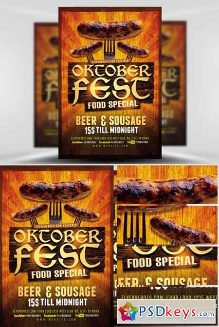 Oktoberfest Food Flyer Template V  Free Download Photoshop