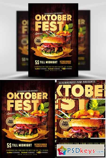 Oktoberfest Food Flyer Template V  Free Download Photoshop Vector