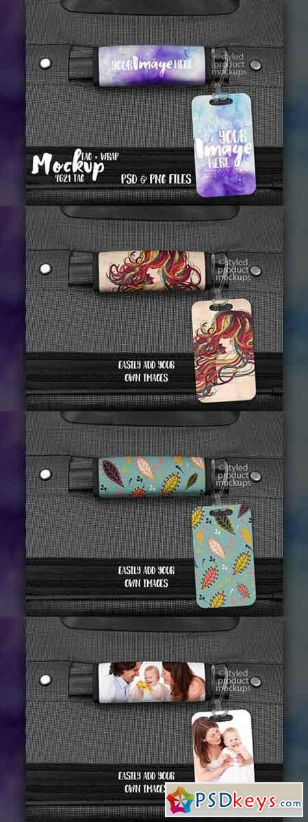 Luggage tag and wrap mockup 1744439