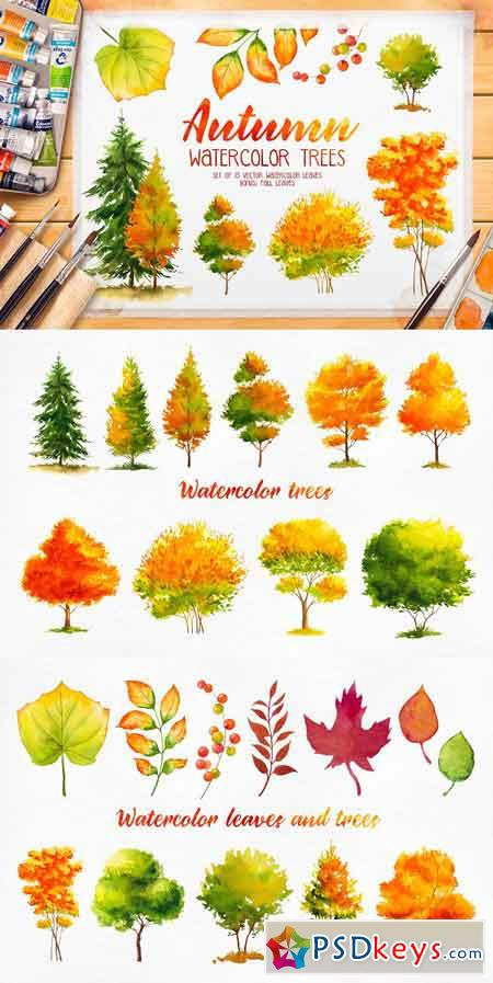 Autumn watercolor trees 1739258
