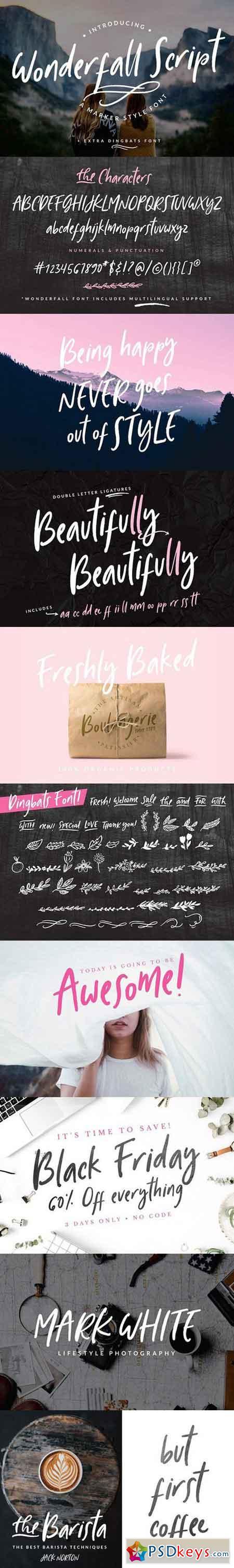 Wonderfall Script + Dingbats Script Fonts 1708459