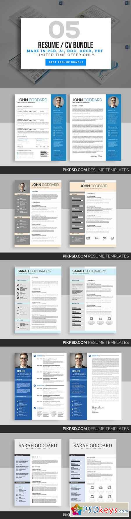 5 Simple Resume Bundle 1789223
