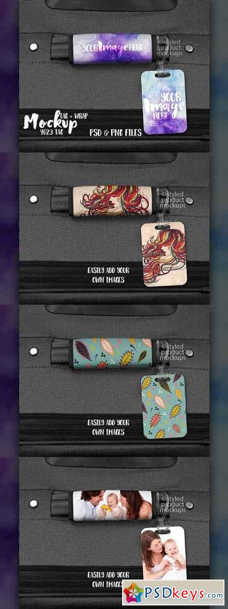 Luggage tag and wrap mockup 1744646