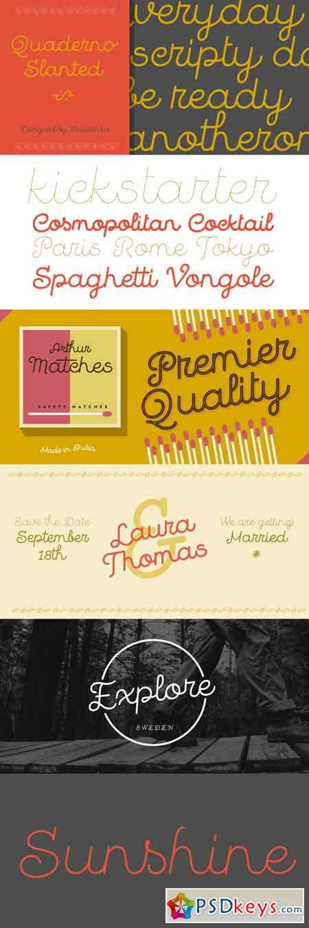 Quaderno Slanted Font Family - 17 Fonts $99