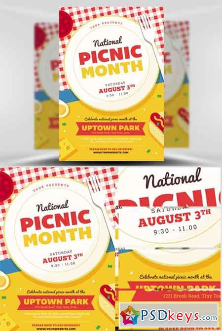 National Picnic Month Flyer Template