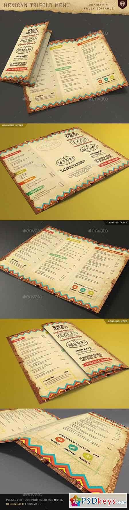 Trifold Mexican Food Menu 19108281