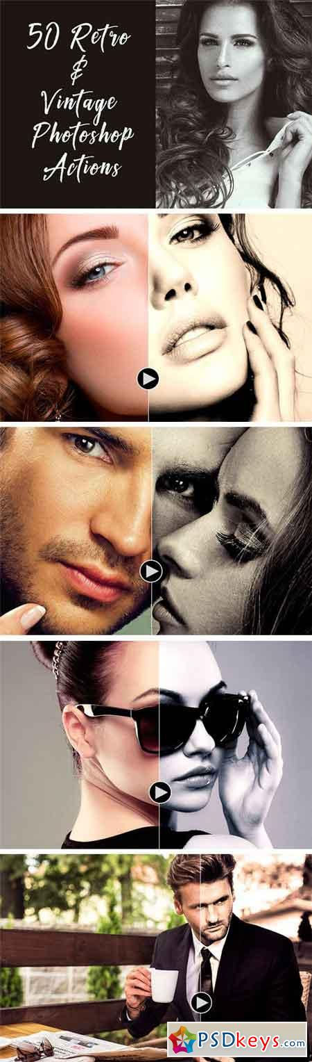 50 Retro & Vintage Photoshop Actions 1740754 » Free Download