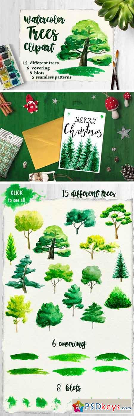 Watercolor Trees Clipart 1740363
