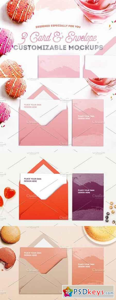 Vol. 1 - 3 Card and Envelope Mockups 1743856