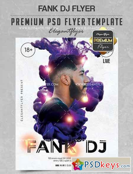 Fank DJ – Flyer PSD Template + Facebook Cover
