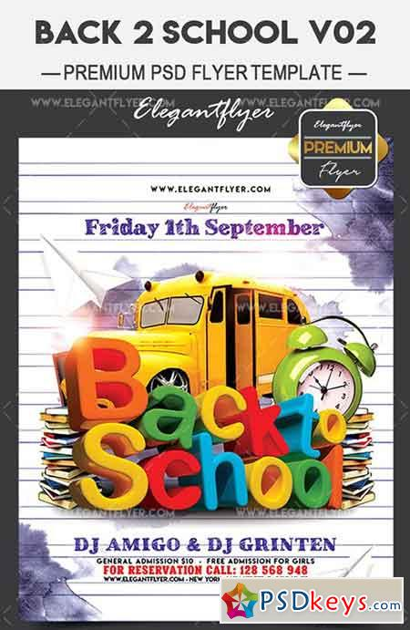 Back 2 School V02 – Flyer PSD Template + Facebook Cover
