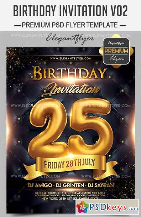 Birthday Invitation V02 – Flyer PSD Template + Facebook Cover