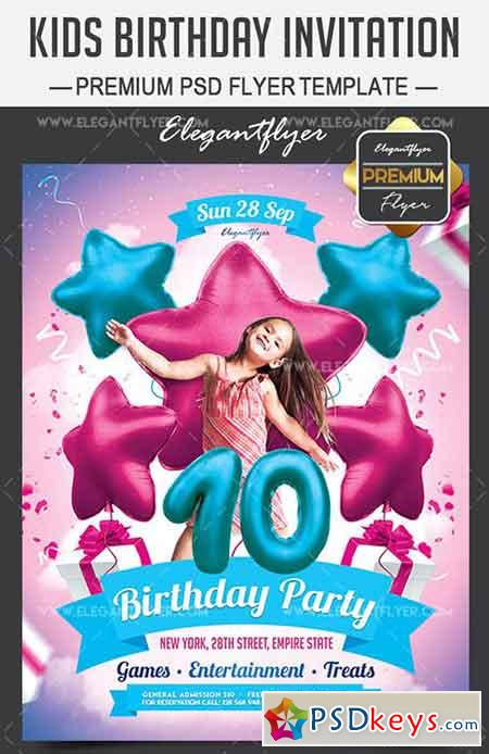 Kids Birthday Invitation – Flyer PSD Template + Facebook Cover