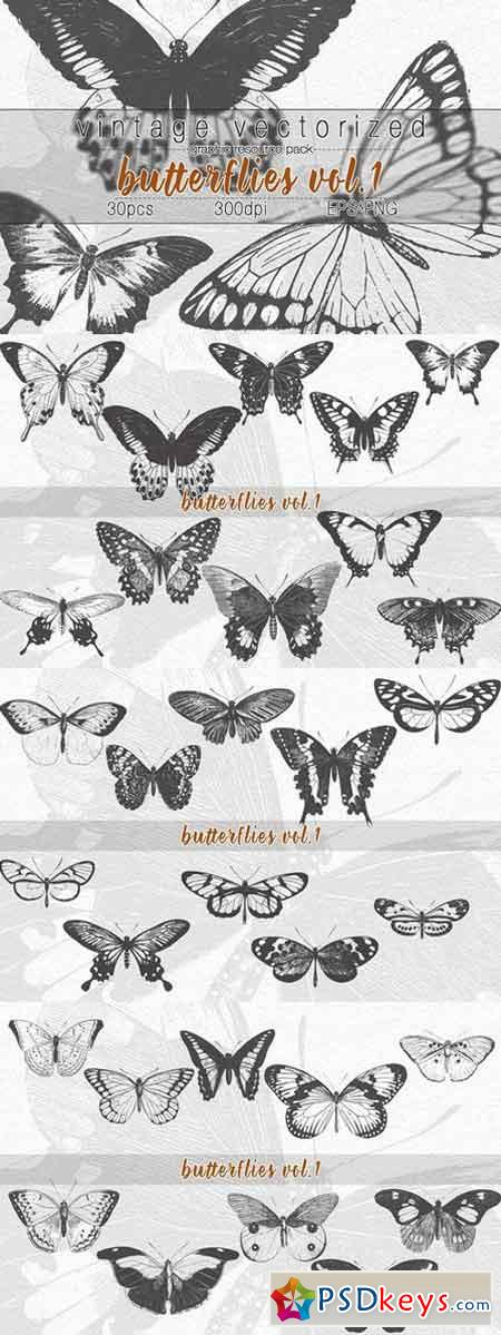 VintageVectorized-Butterfly Clipart 1759581