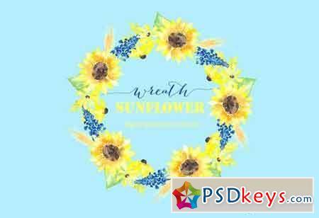 Sunflower wreath watercolour clipart 230751