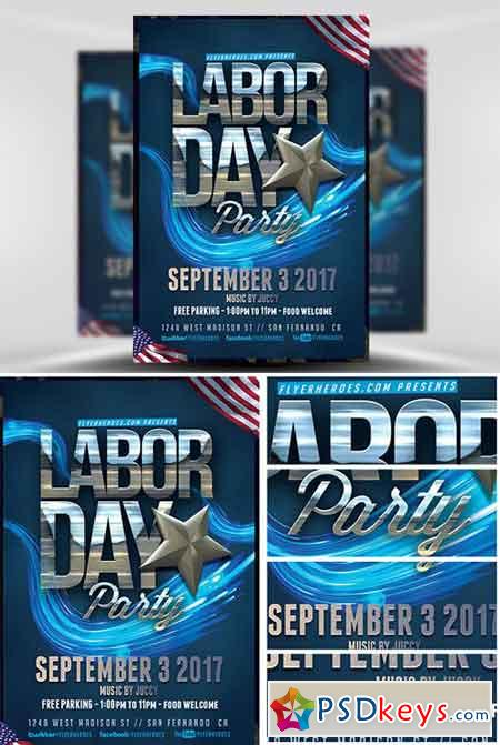 Labor Day Party Flyer Template V  Free Download Photoshop Vector