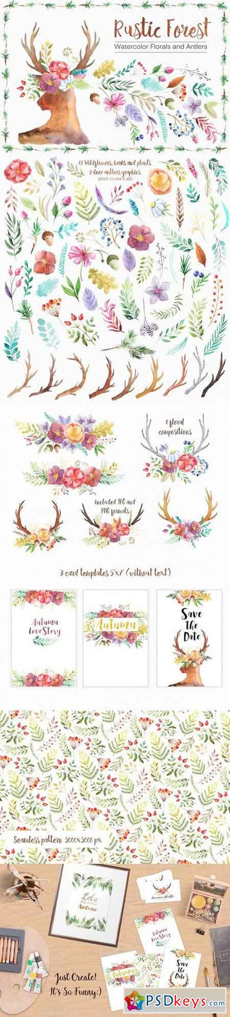 Watercolor Rustic Forest Set 852978