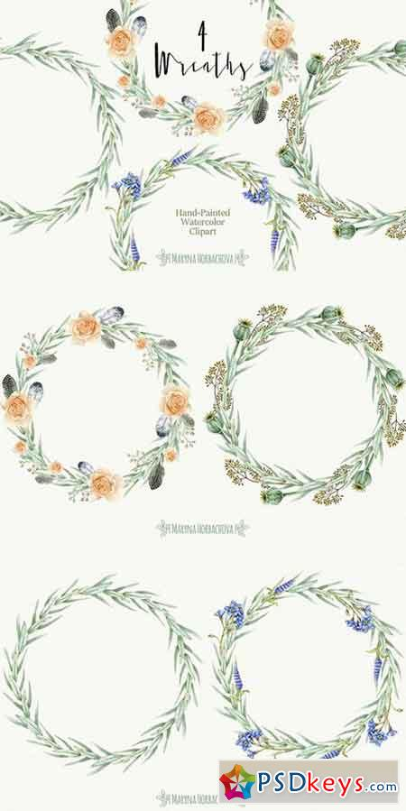 Set of 4 Watercolor wreaths 1604020
