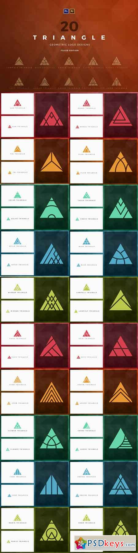 20 Triangle Logos - Filled edition 1813401