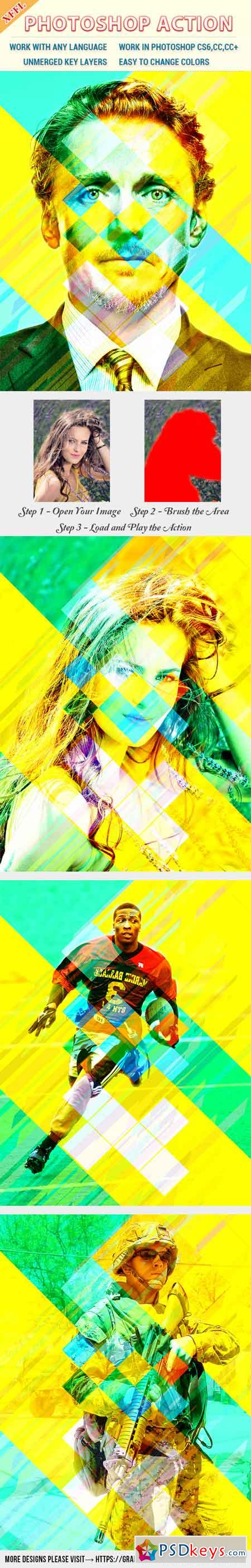 Colorful Rectangles Effect Photoshop Action 20566475
