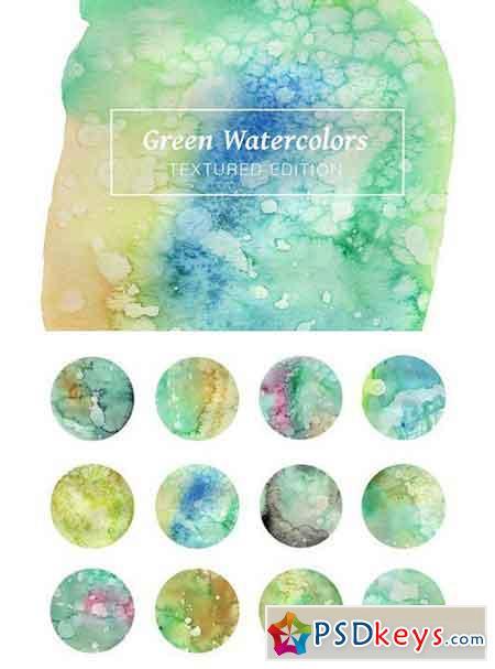 Green Textured Watercolors 1771017