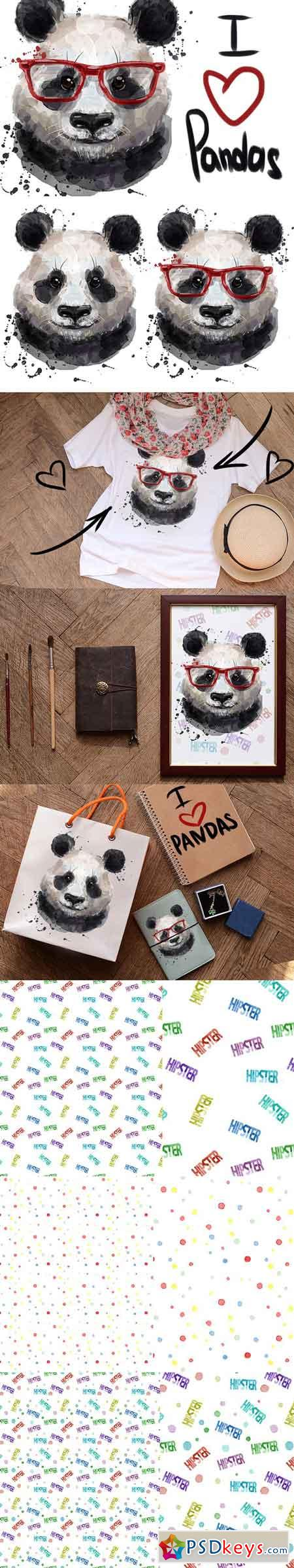 watercolor cute panda 1828180