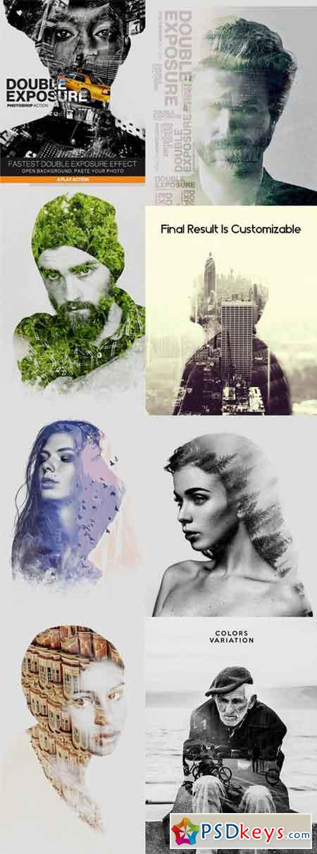 Double Exposure Photoshop Action Photo Effects 20558140
