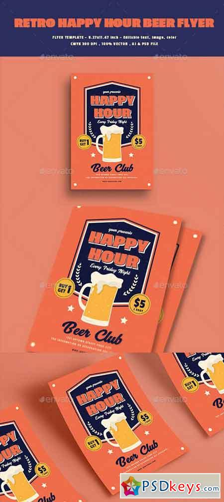 Retro Happy Hour Beer Flyer 20625575
