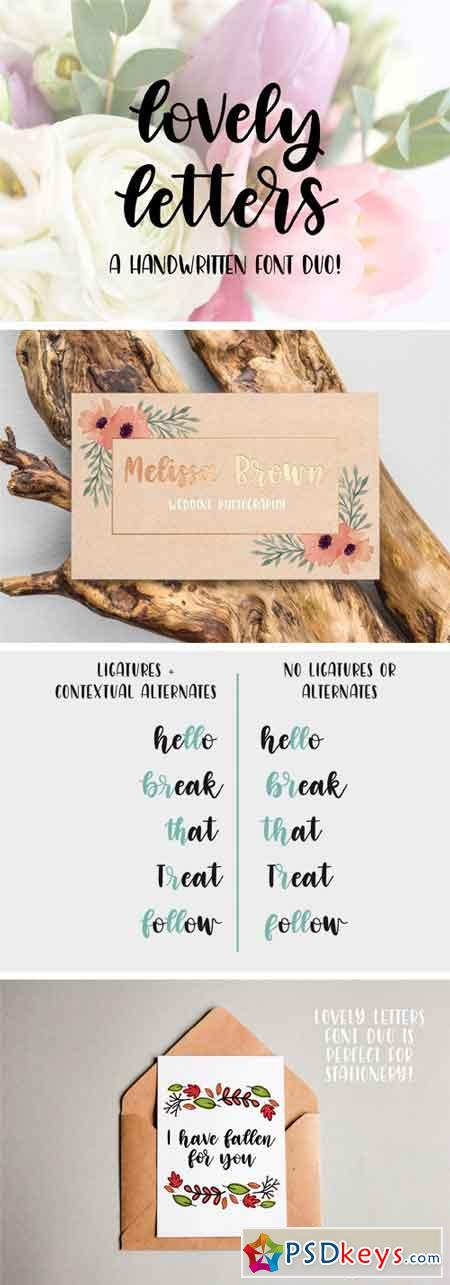 Lovely Letters Handwritten Font Duo 1736884