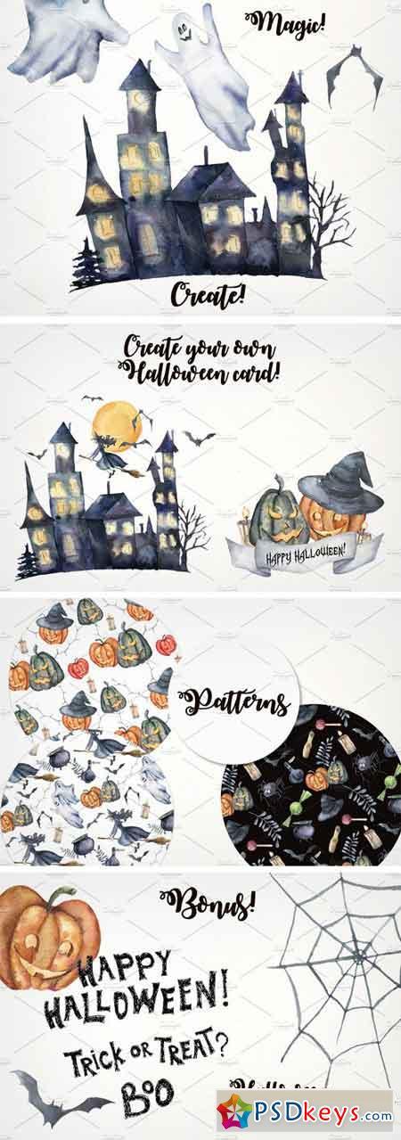 Happy Halloween Night. Watercolor 1781273